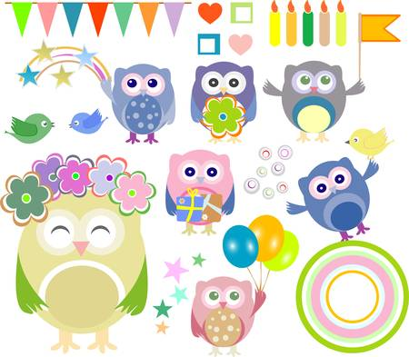 Set of happy birthday party elements with cute owls