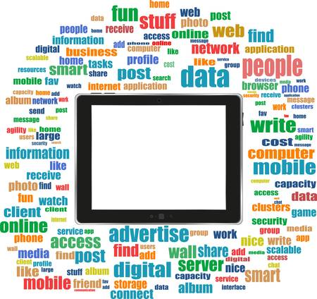 tablet pc in social media words, communication in the global computer networks Vector