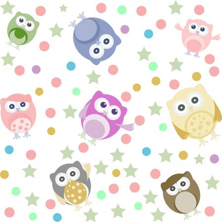 owlet: Bright background with cute owls, stars, circles. Seamless vector pattern