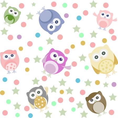 owlet: Fondo brillante con b�hos lindos, estrellas, c�rculos. Seamless vector patr�n Vectores