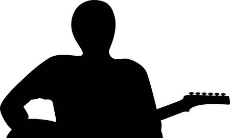 boy playing guitar: A silhouette of a guitar player isolated against white background Illustration