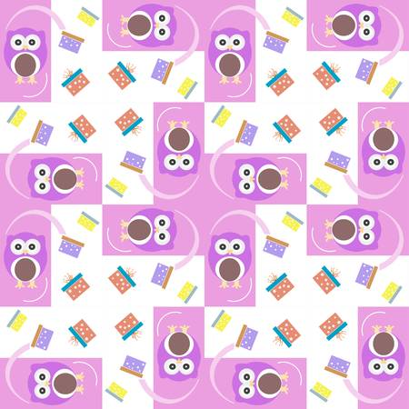 Vector cute owl card. Baby girl arrival announcement card. Seamless pink background pattern Vector