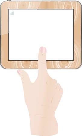 Female finger touch wooden tablet computer isolated on white background Vector