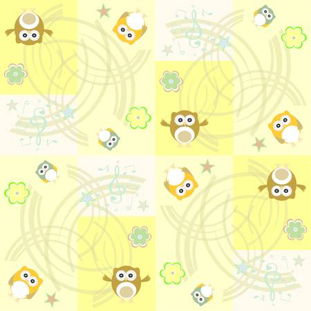 Seamless flowers and owl pattern background in vector Vector