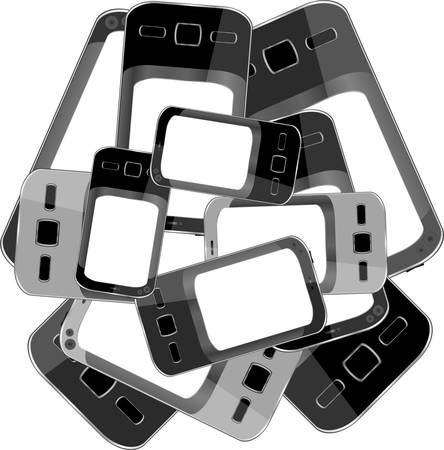 Black smart phones set isolated on white background Vector