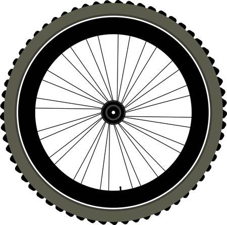 spokes: bike wheel with tire and spokes isolated on white background. vector