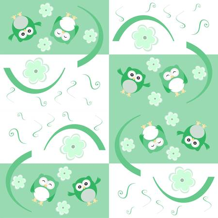 Cute seamless flower and owl background pattern Vector