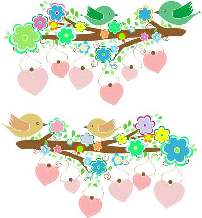 The bird sings sitting on tree branch with love heart  Vector