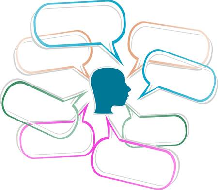 silhouette of a human head with emanating from it bubbles speech Vector