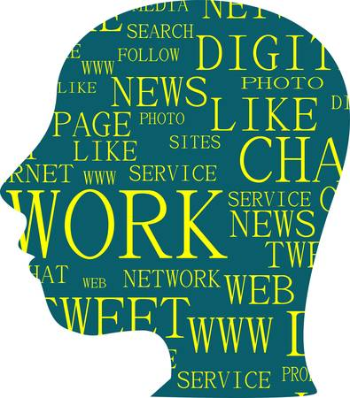 silhouette of head with the words on the topic of social networking Vector