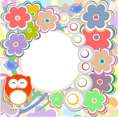 Background with flowers and cute owl - holiday vector card Vector