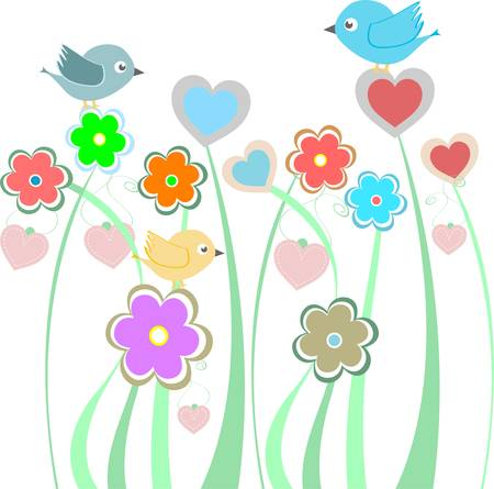 vector background with cute birds and flowers Vector