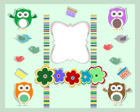 happy birthday card - cute birds, owls and flowers Vector