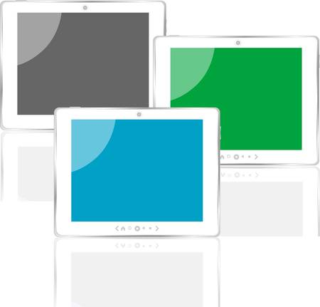 Photo-realistic vector illustration of different colored tablet pc set with screen Vector