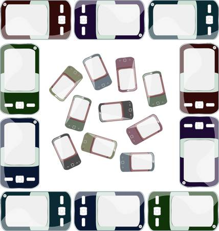 smart phones set on white background. Just place your images on the screens Vector