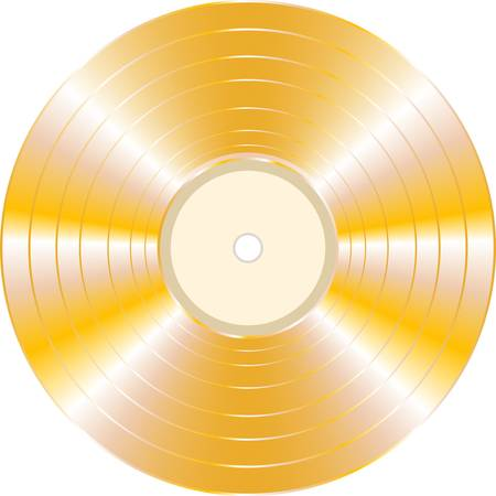 gold record: gold vector vinyl record isolated on white background