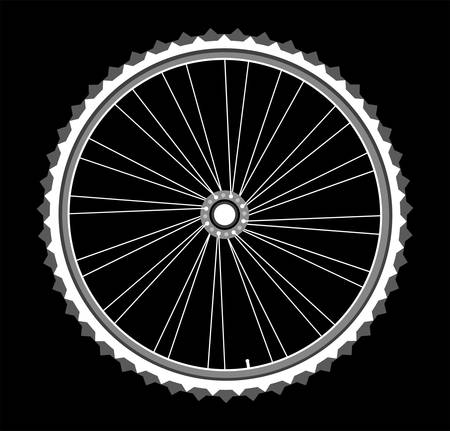 caravans: vector white bicycle wheels isolated on black background
