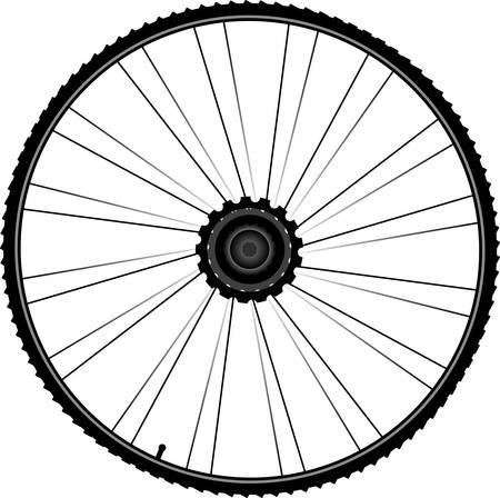 aluminum wheels: Rueda de bicicleta negro con llantas y radios aisladas sobre fondo blanco