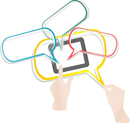 tabletpc: Vector man hands and touch pad smart phone connect cloud network Illustration