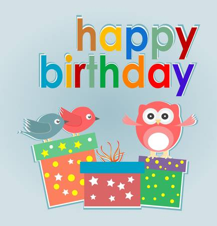 Vector birthday party card with cute owl, birds and gift boxes - happy holiday Vector