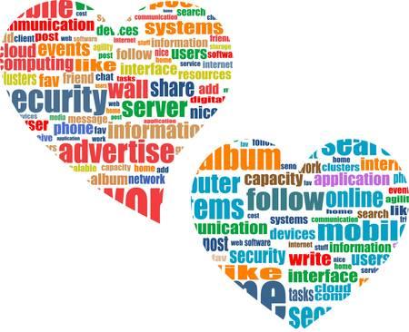 word tag heart cloud set wirh media marketing concept words Vector