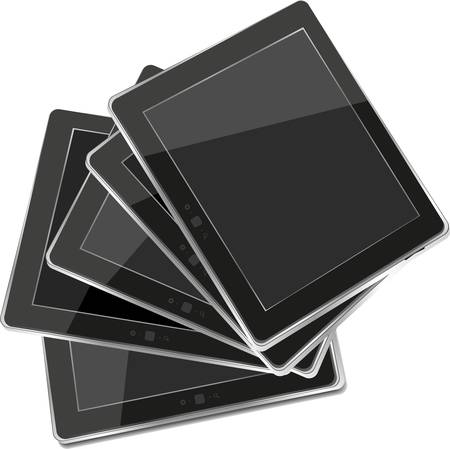 set of black vector tablet pc with black screen isolated on white background Stock Vector - 14551992