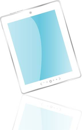 Vector white tablet pc with blue screen Vector