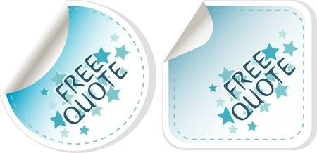 estimate: free quote blue sticker icon button sign  vector Illustration
