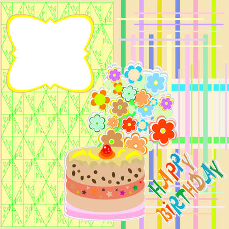 happy birthday greeting card with flower and cupcake vector photo
