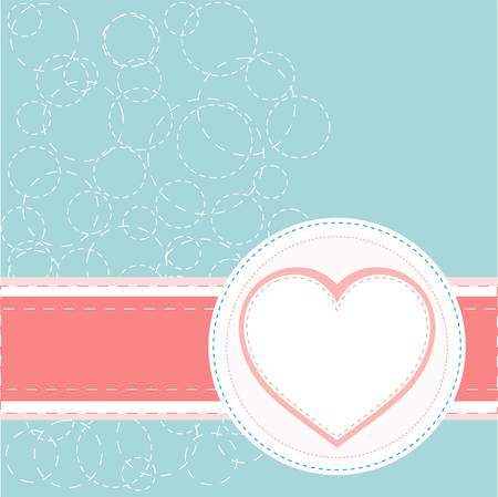 Valentines ornament with red love heart vector Stock Vector - 15490015