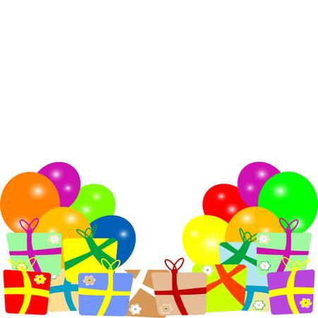 red balloons: Card to birthday with balloons and gifts  vector Illustration