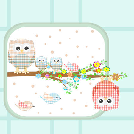 couple of cute owls and birds sitting on branch photo
