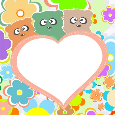 Teddy bear in flowers with big heart, vector Vector
