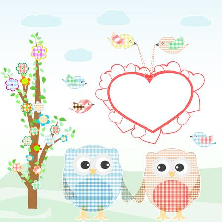 Set of nature elements: owls and birds on branches and tree. vector Vector