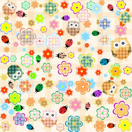 Cute seamless flower owl background pattern. vector
