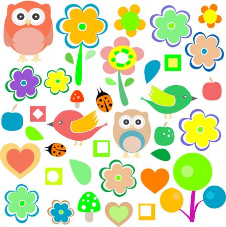 animals and nature design elements. vector retro background Vector