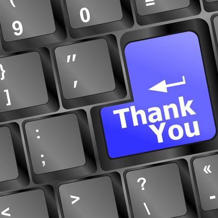 gratitudine: Tastiera del computer con il tasto Grazie, concetto di business