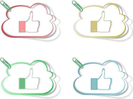 like hand: Paper thumb up like hand symbol.  set of design elements