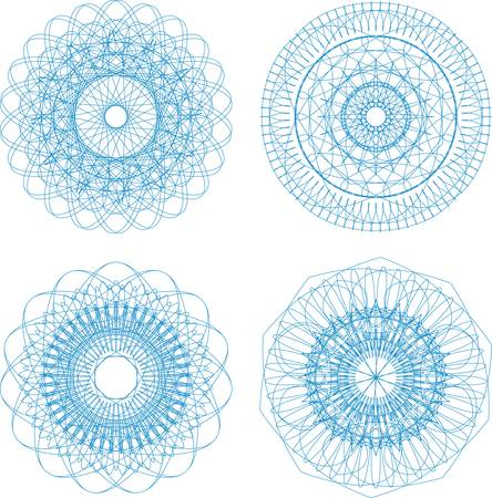 Ornamental round floral pattern. Set of four colorful ornament Vector