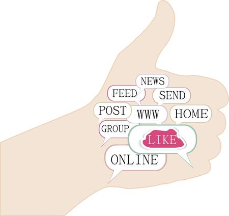 like hand: Thumb up like hand symbol with tag cloud of word Illustration