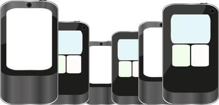 databank: Smart Phones set isolated on white background