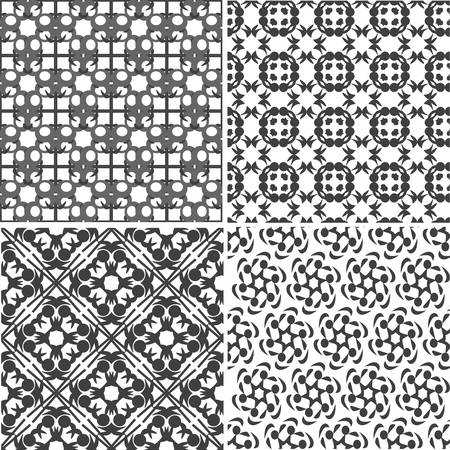 four seamless floral monochrome patterns  ornament texture Vector