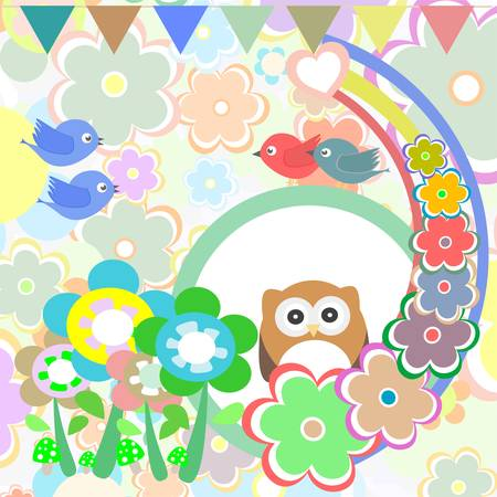 Background with owl, flowers, birds and trees Vector