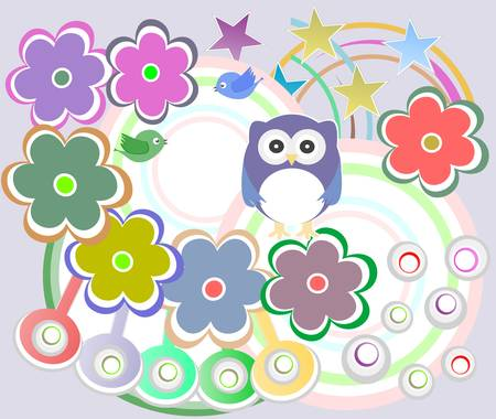 holiday card with cute owl and flowers Vector