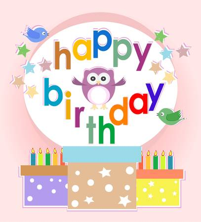 birthday party elements with cute owls and birds Vector