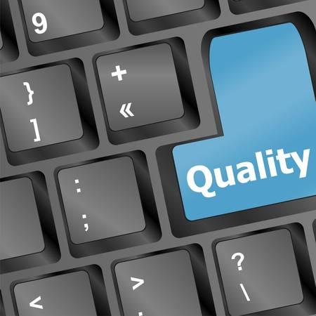 metafoor: kwaliteit-knop op computer toetsen bord met business concept