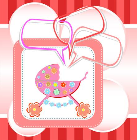 baby girl card, child arrival announcement card Vector
