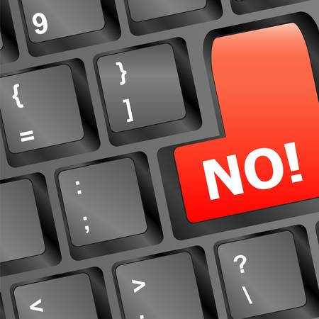No - text on a button keyboard Stock Vector - 15715343