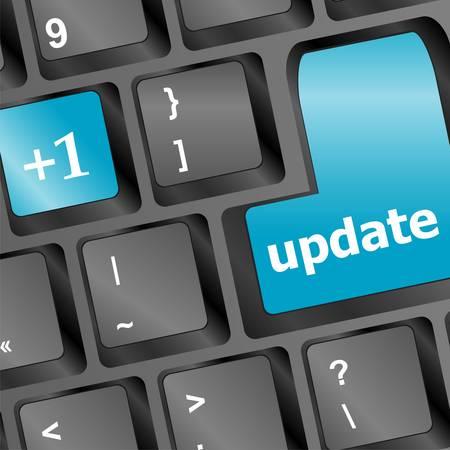 news update: Upgrade computer key on black keyboard Illustration