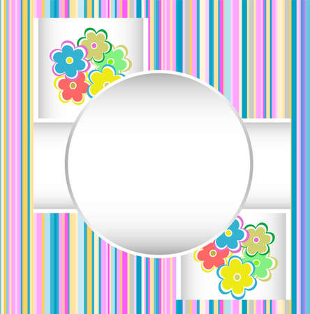 birthday border: cute happy birthday card with flowers  Stock Photo